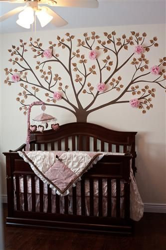 My Daughter's Nursery, her tree Hand Painted my her grandma!  Baby Girl Room Design Flowers Pink Brown Ideas