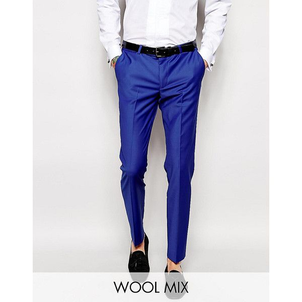 Noose & Monkey Suit Pants In Super Skinny Fit ($77) ❤ liked on Polyvore featuring men's fashion, men's clothing, men's pants, men's dress pants, cobalt blue, mens skinny suit pants, tall mens dress pants, mens stretch pants, mens tall pants and mens zip off pants