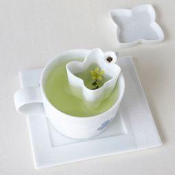 Blue and White Porcelain Mug, Saucer and Strainer Set with Petal Design