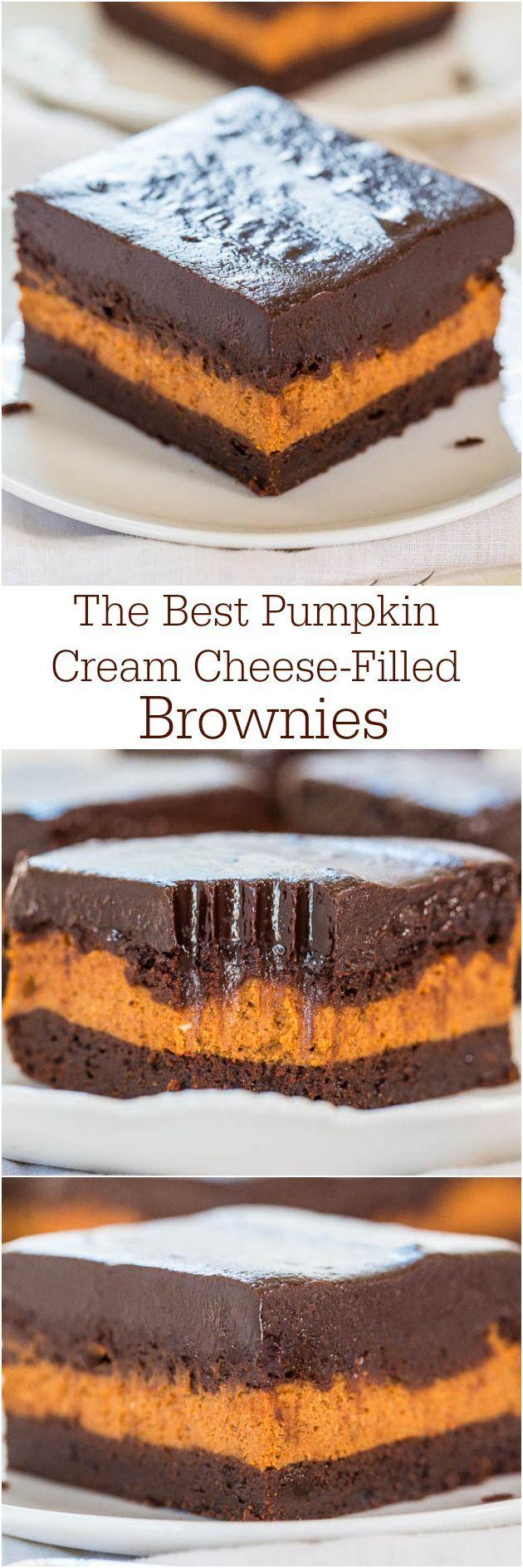 Pumpkin Cream Cheese-Filled Brownies - A layer of pumpkin cheesecake inside fudgy brownies