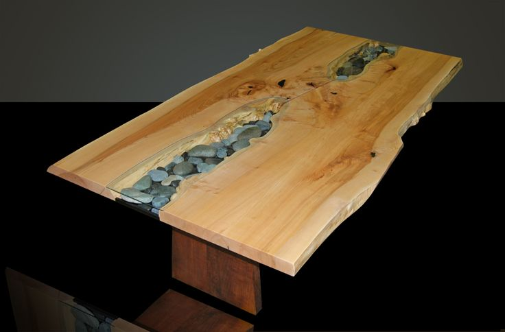 Live edge dining table with glass google search live for Wooden glass dining table designs