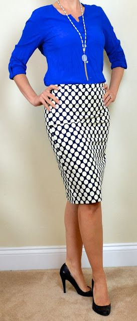 Outfit Posts: outfit post: blue blouse, polka-dot pencil skirt