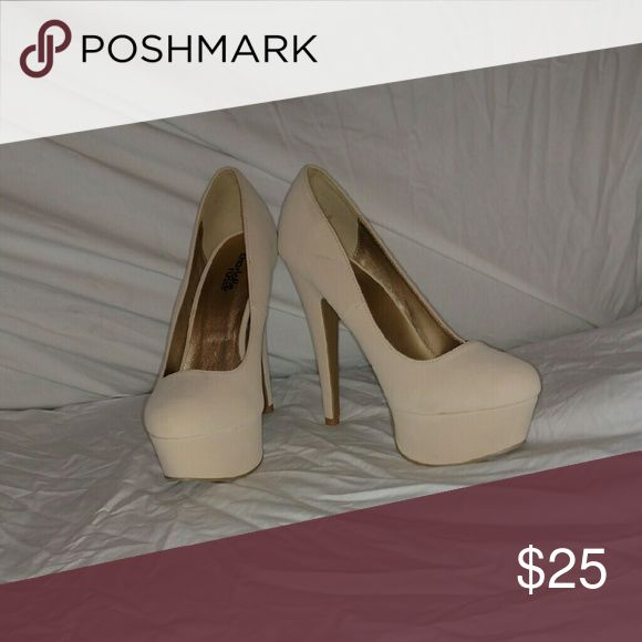 Cream high heels Very cute worn once. Cream high heels. Charlotte Russe Shoes Heels