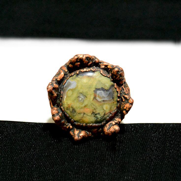 Перстень. Риолит, гальваническая медь. Безразмерный. 1500 руб