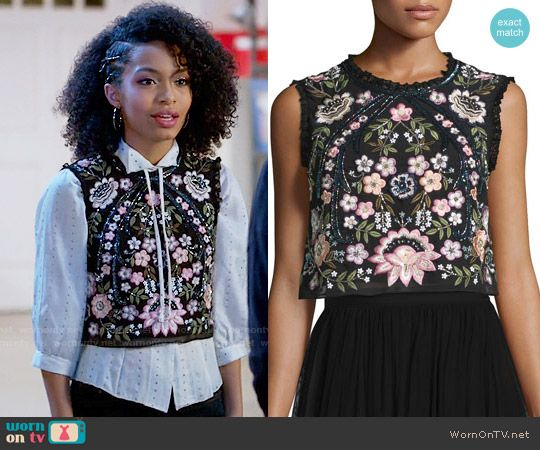 Zoey's black embellished crop top on Black-ish.  Outfit Details: https://wornontv.net/68841/ #Blackish