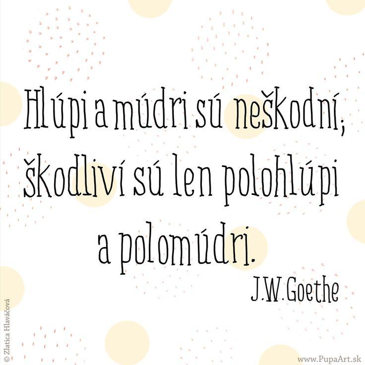 36/365  Hlúpi a múdri sú neškodní, škodliví sú len polohlúpi a polomúdri. J.W.Goethe