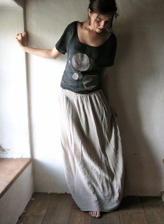 Maxi Skirt Long Grey Floor Length Gathered Skirt By