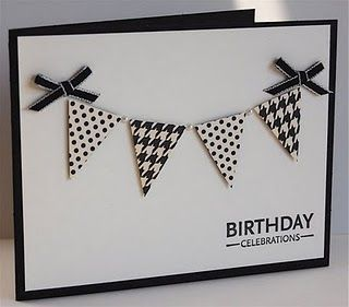 Great idea to use background stamps on pennant!love the black & white!