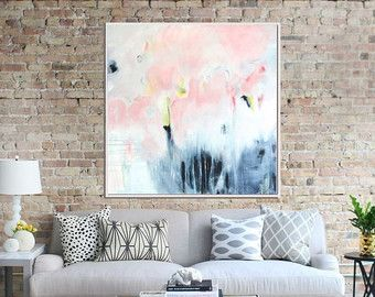 Original Art Blue Abstract Painting Abstract Canvas by Artzaro