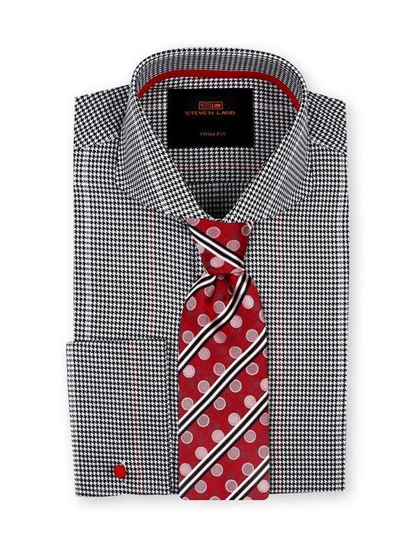 Men's Dress Shirt by Steven Land -  Woven Houndstooth Black a