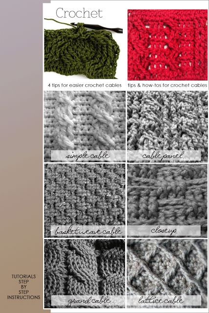 How to crochet some different cables, from DiaryofaCreativeFanatic.  Links to seven tutorials, plus two videos on the site page.  Basket weave has nothing to do with cables, but is still a good stitch to know.   . . . .   ღTrish W ~ http://www.pinterest.com/trishw/  . . . .