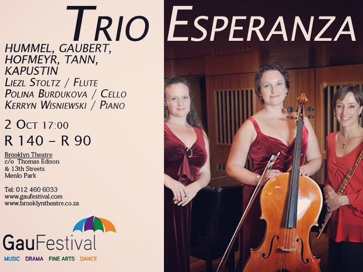 TRIO Esperanza Monday 2 October 17:00  Stoltz/Burdukova/Wisniewski Trio Esperanza is a combination of award winning and critically acclaimed musicians that have been successfully performing together and separately, around the country and abroad.