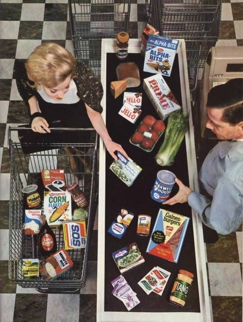 grocery shopping - when ever item had a little sticker with the price on it