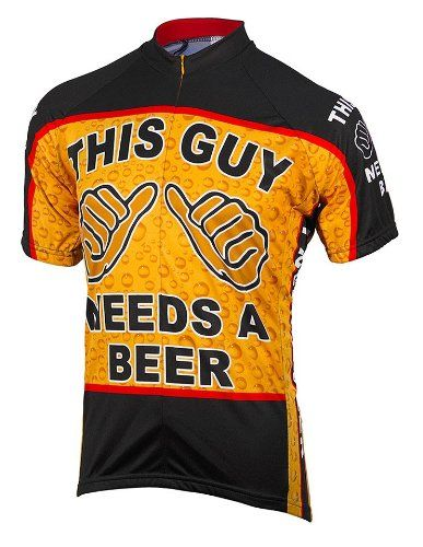 I need one that says This Girl! >>This Guy Needs a Beer Mens Cycling Jersey Large - http://ridingjerseys.com/this-guy-needs-a-beer-mens-cycling-jersey-large/