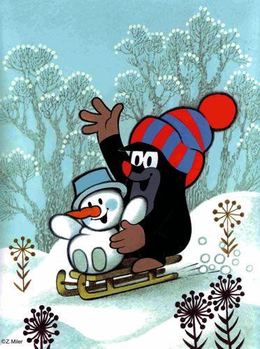 Krteček a sněhulák.