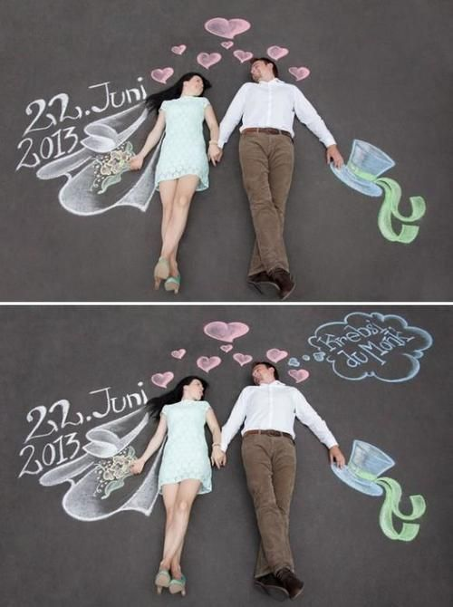 Creative chalk mural forced perspective save the date photo. Found on Wedbook.com. #funnysavethedates #funnysavethedateideas