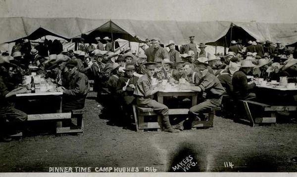 """Dinner Time / Camp Hughes 1916"" | saskhistoryonline.ca"