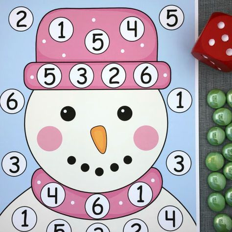 snowman roll and cover math and fine motor activity for preschool and kindergarten.