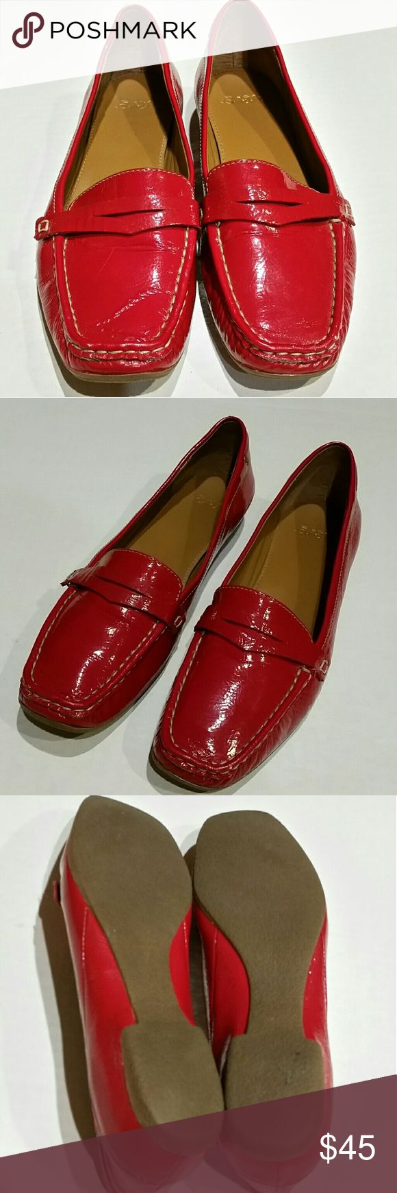 Joan & David Red Patent Leather Flats Loafers In excellent like new condition, comfortable and stylish red patent leather flats loafers from Circa Joan & David. Joan & David Shoes Flats & Loafers