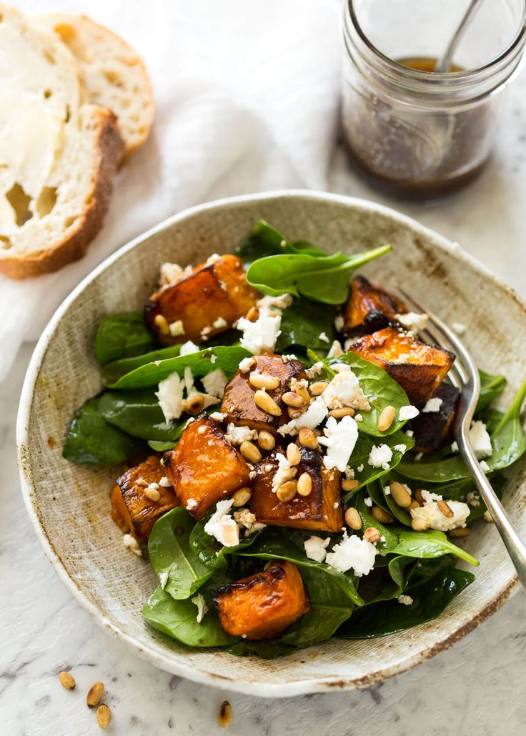ROAST PUMPKIN, SPINACH AND FETA SALAD + PINE NUTS OR OTHER NUTS