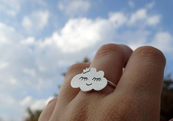 Anillo plata nube, Anillo nube, Anillo plata lluvia, Anillo ajustable, Anillo plata chica, Anillo plata mujer, Regalos para ella, Nube plata de SplashJewel en Etsy