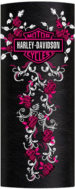 Harley-Davidson® Womens Pink Roses & Scroll Ink Embossed Black Leather Hair Glove™