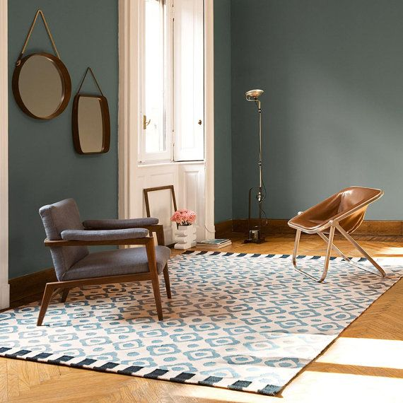Blue and beige rug with geometric patterns, handmade certified woolmark wool-size: cm. 170x240 or 200x300
