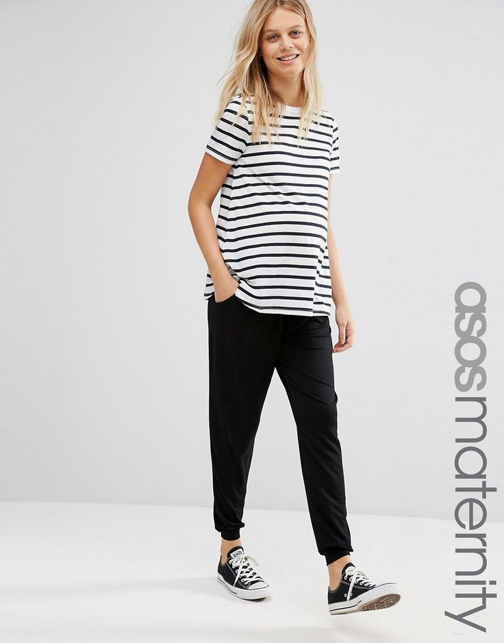 Image 1 ofASOS Maternity Jersey Peg Trouser With Draw Cord Waist
