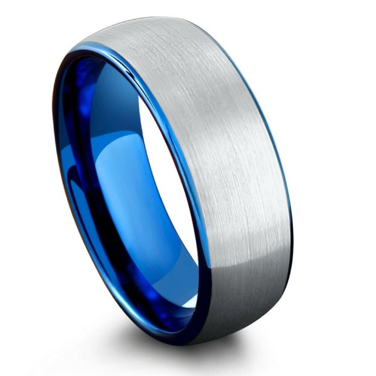 8mm brushed tungsten wedding band with a blue inside. Incredible blue tungsten wedding band!