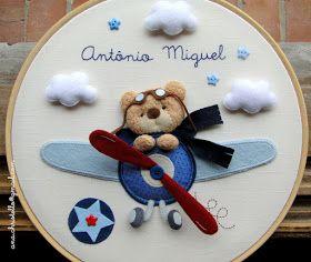 : Porta de maternidade - bastidor ursinho aviador