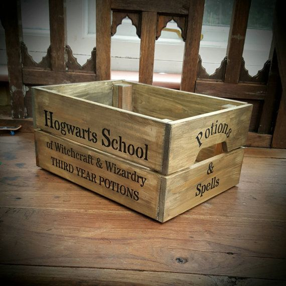 Hogwarts School of Witchcraft and Wizardry Third Year Potions Box Wooden Crate Rustic Storage Gift Harry Potter Gift