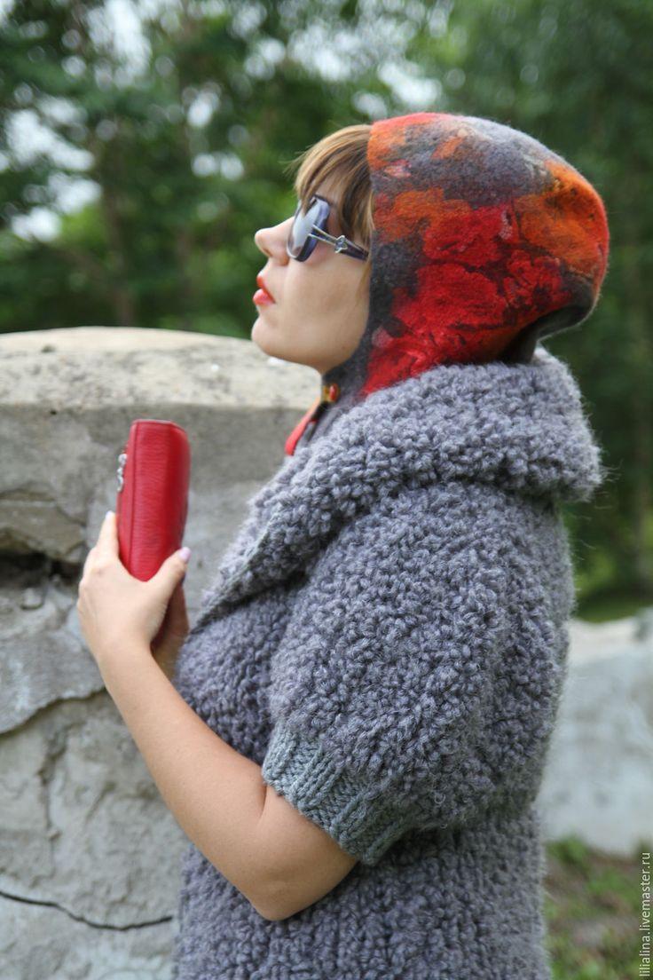 Купить Капюшон, капор валяный Осенние цветы - комбинированный, цветочный, капюшон, валяный капюшон