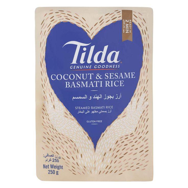 تيلدا أرز بسمتي بجوز الهند والسمسم مطهو على البخار 250 غم تشحن بواسطة امازون امارات In 2020 Coconut Coconut Rice Sesame