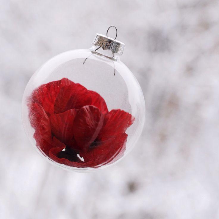 Like ship in a bottle Handmade poppy, cold porcelain for Christmas tree