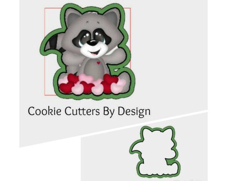 Valentine's Cookie Cutter / Raccoon Cookie Cutter / Hearts Cookie Cutter / 3D Printed Cookie Cutters / Cookie Cutters by CookieCuttersByDsgn on Etsy