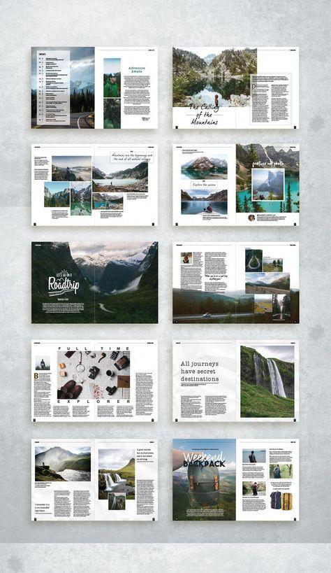 Diseño de la revista Adventure Travel #travelguidelayout – #Adventure #layout #Magazi …   – Art
