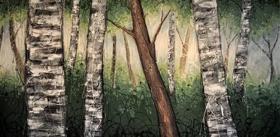 Orange Art Gallery - Julie Berthelot - Early Morning Birches; Purchase Online. Art. Forest. Urban Nature. Painting on Canvas.
