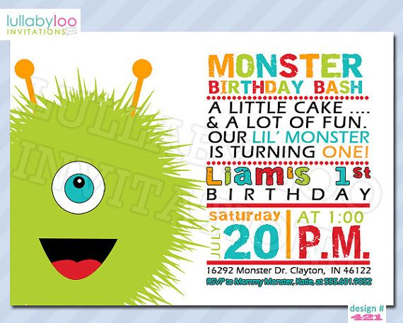 Monster 1st Birthday Invitations by LullabyLoo on Etsy, $18.00 @brooke anderson