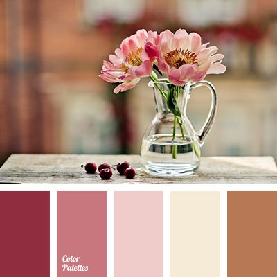 """baby pink"" color, ""dusty"" pink, beige, brown, color combination in interior, color of pink peonies, dark lilac, light lilac, lilac, pink, reddish brown, selection of color, soft pink, warm brown."
