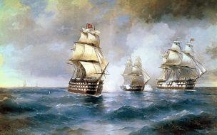 иван, айвазовский, бриг, «меркурий», атакованный, двумя, турецкими, кораблями, рисованные