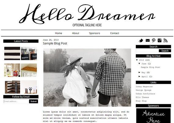 3 Column Blogger Template Design  Hello Dreamer  by ElloThemes
