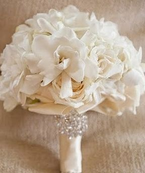 Crystals On The Bouquet White Cream Ivory Wedding Flowers