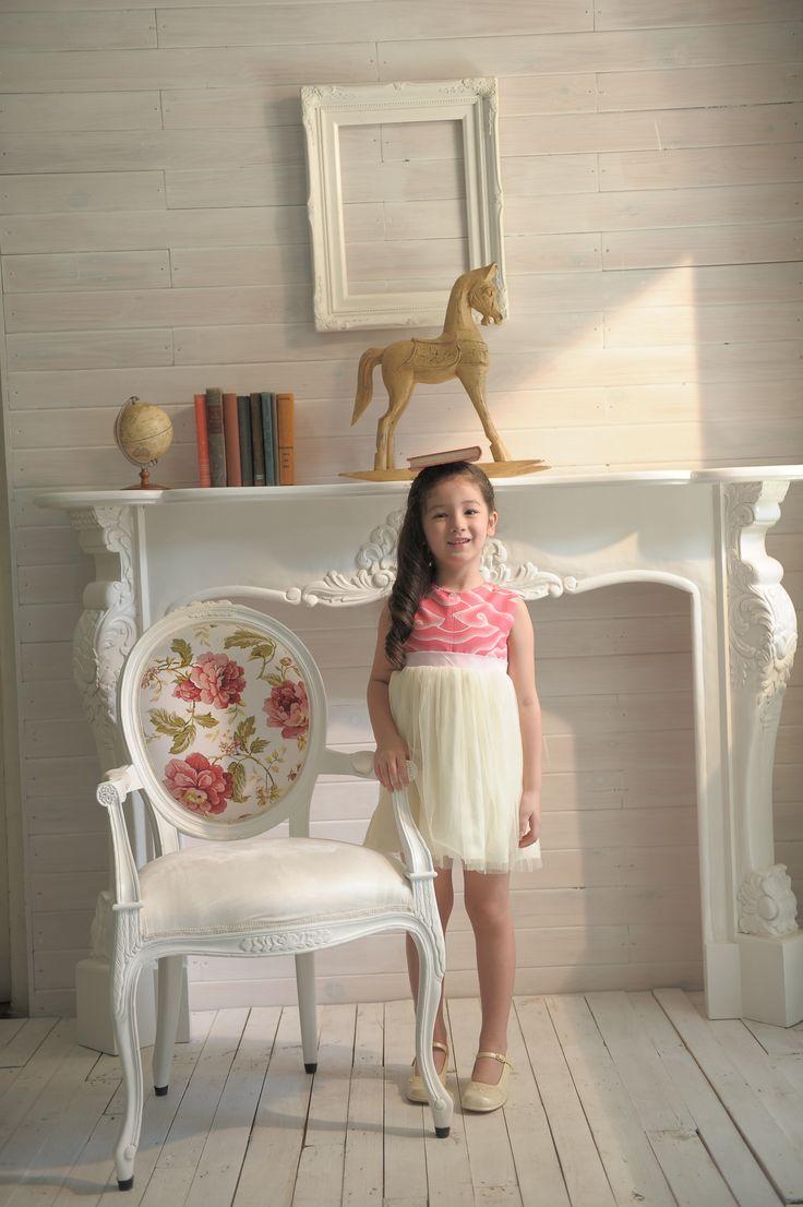 Regina Dress. Elegant dress with Batik Mega Mendung and tulle