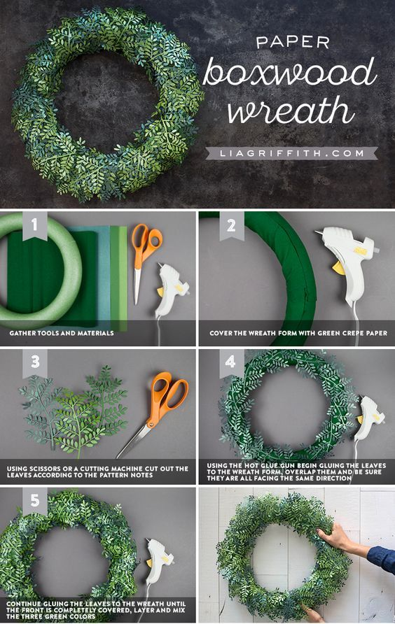 Frosted Papercut Boxwood Wreath - Lia Griffith - www.liagriffith.com #diywreath #diywreaths #paper #paperart #diydecor #diyprojects #diyinspiration #madewithlia