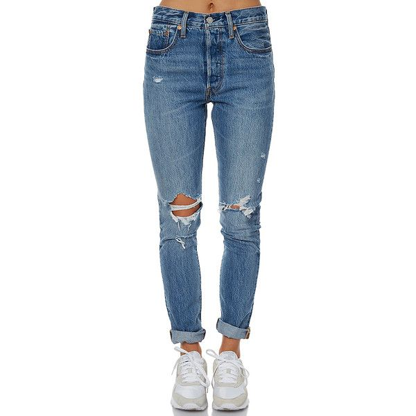 Levi`s 501 Womens Skinny Jean Blue ($115) ❤ liked on Polyvore featuring jeans, blue, straight jeans, women, super skinny ripped jeans, denim skinny jeans, levi jeans, ripped blue jeans and distressed jeans