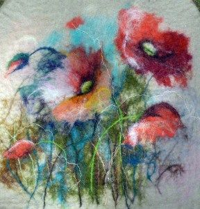 watercolor felting ;) Quite nice effect!