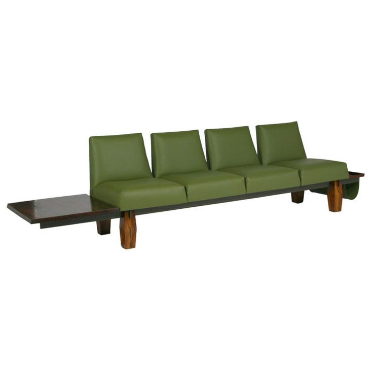 Rosewood And Green Leather Sofa With Floating Ends By Lu0027Atelier