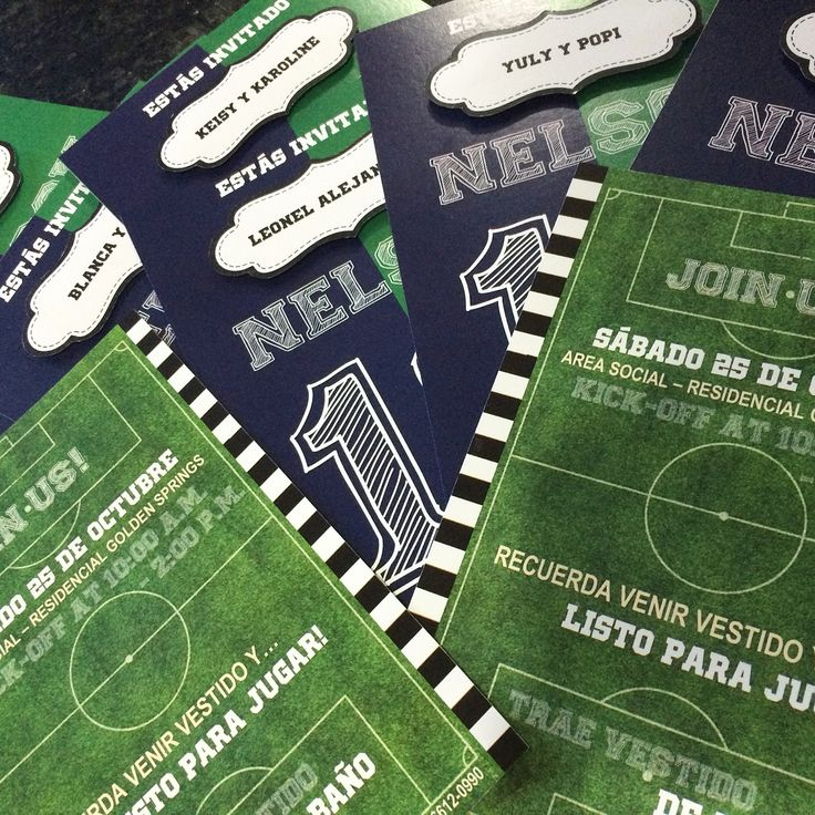 Some beautiful soccer party invitation cards with a 3D label name