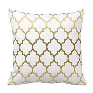 Gold und Weiß Vierpass-Geometrische Muster Kissen Bezug für Wohnzimmer, Sofa, etc.