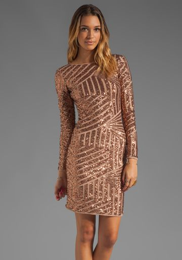 Bcbgmaxazria Sequin Long Sleeve Scoop Back Dress In Rose Gold Embellished Pinterest Dresses Sequins And Backs